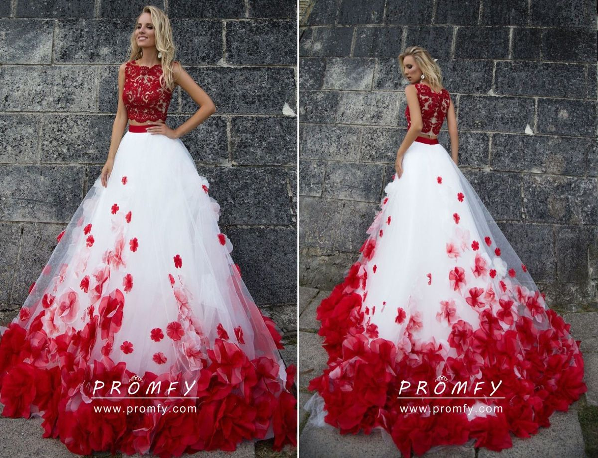 Red 3d Flowers Lace White Tulle Long Formal Dress Promfy