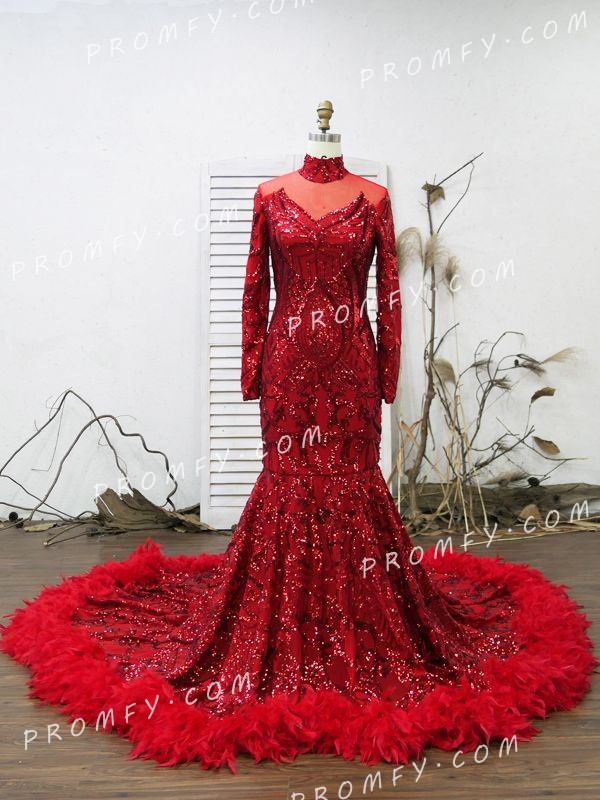 2b4ea300c4 red sequin long sleeve. red sequin floor length prom dress with feathers. red  sequin prom dress with feather trim
