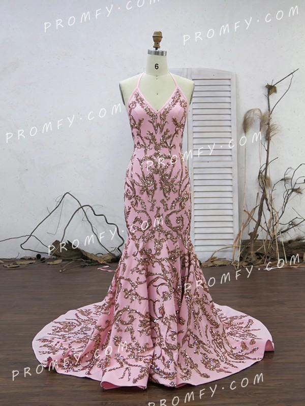 Sparkly Sexy Rose Gold Sequin Backless Halter V-neck Long