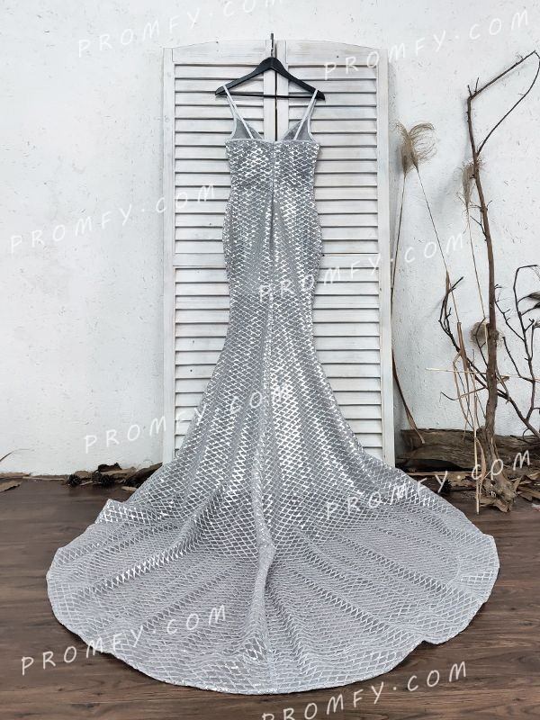 Sparkly Silver Diamond Mesh Sequin Mermaid Prom Dress With