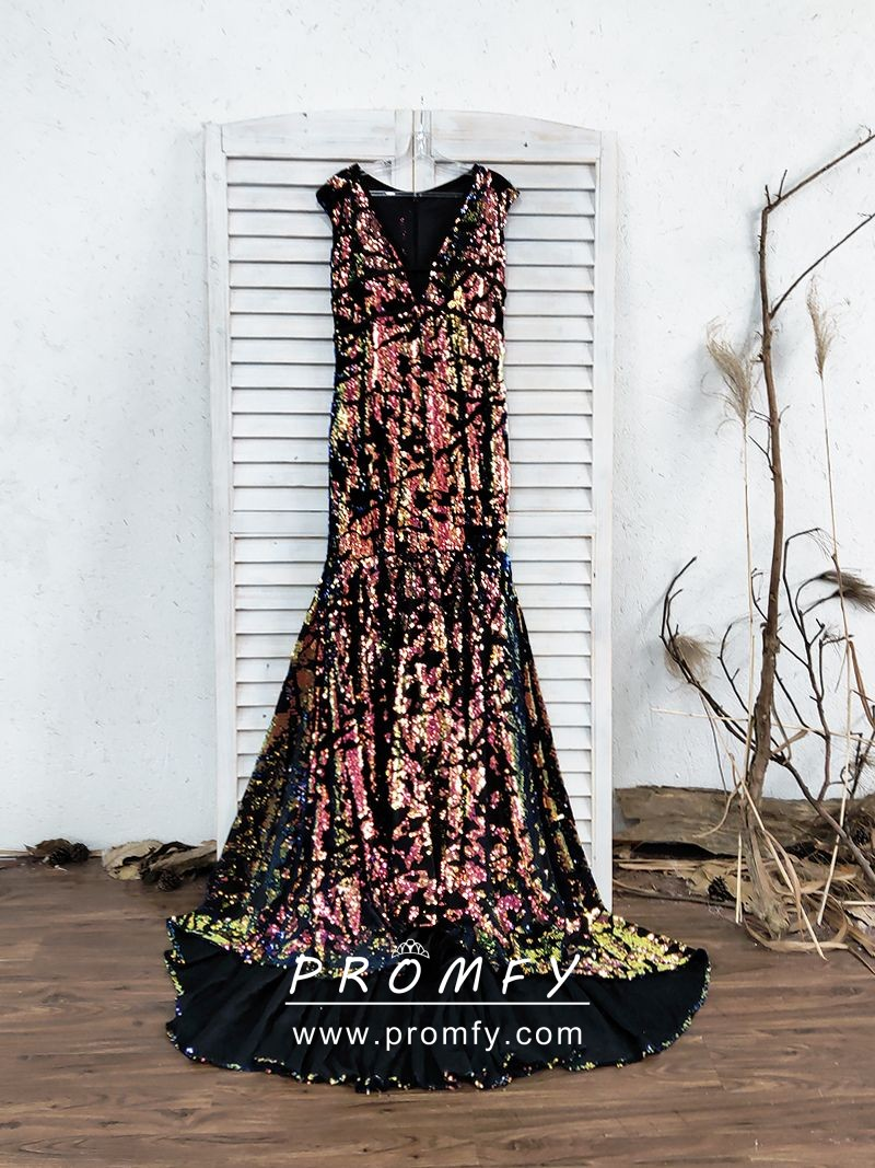 df0ef95ef6a Sparkly Galaxy Color Sequin on Black Mesh Mermaid Long Prom Dress ...