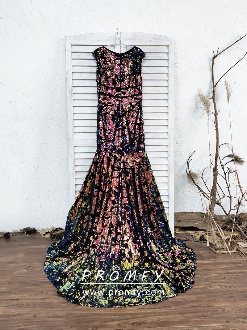 Sparkly Galaxy Color Sequin On Black Mesh Mermaid Long