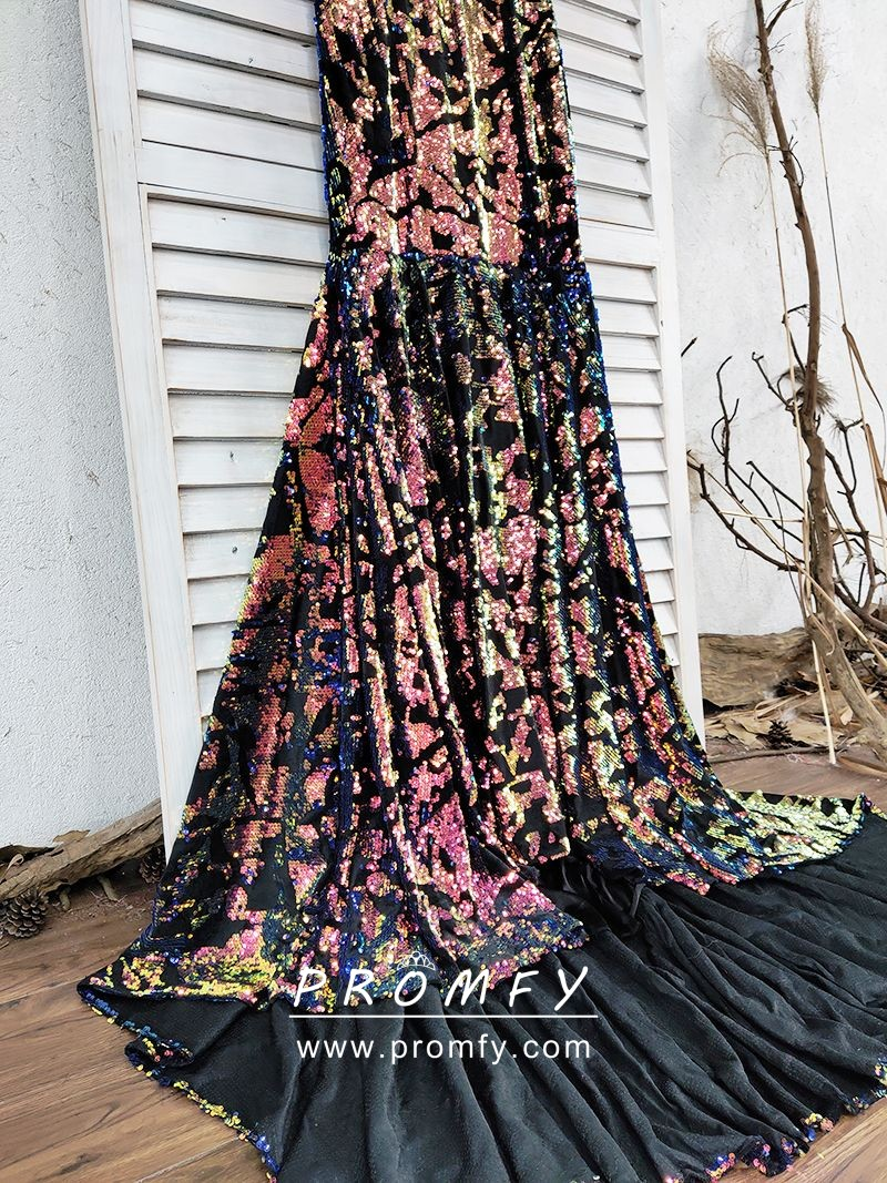 78b395010eb bedazzled galaxy sequin long prom dress. bedazzled galaxy sequin on black  mesh
