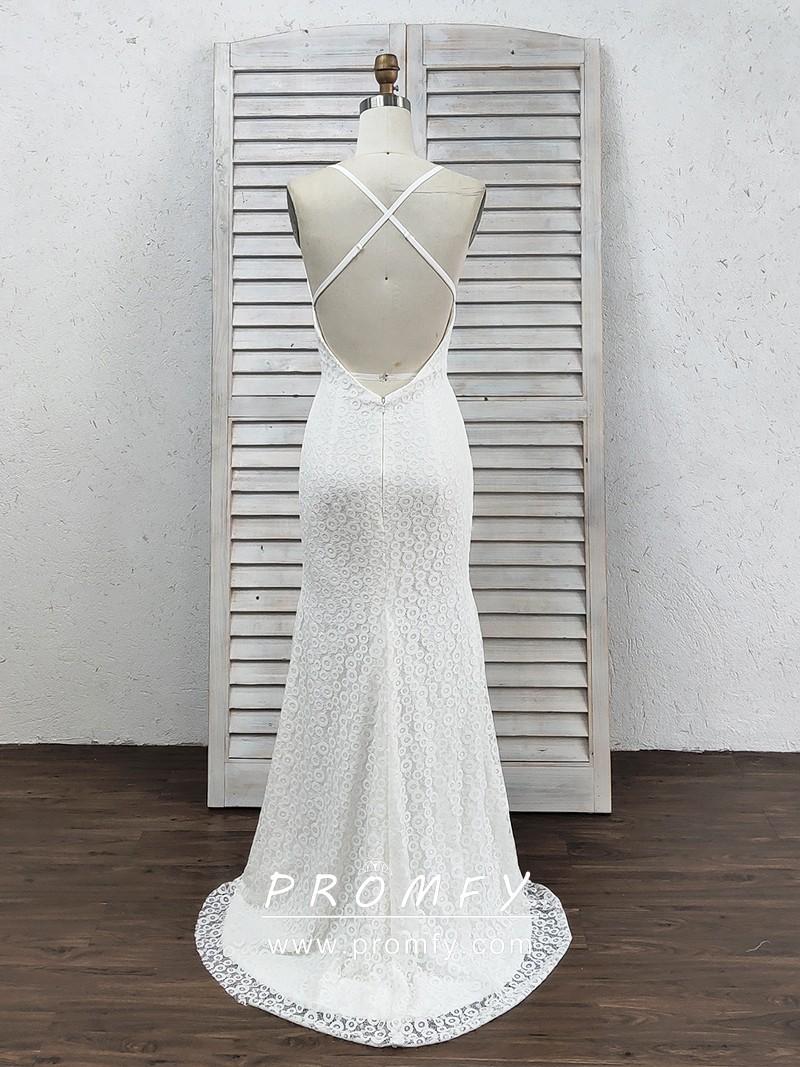 Discount Full Lace Mermaid Wedding Dresses Sheer V Neck