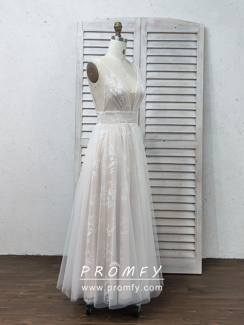 White Lace and Tulle Overlay Nude Long Prom Dress - Promfy