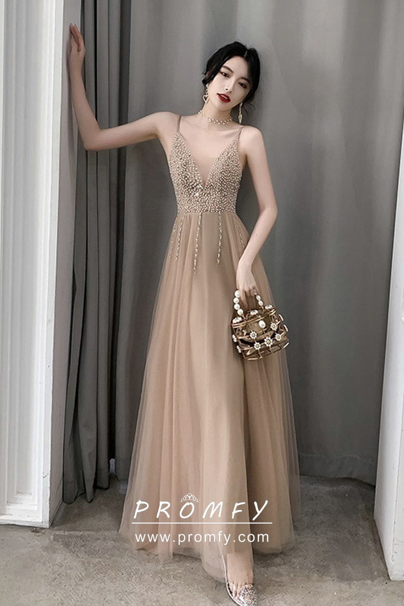 Beaded Plunging Neckline Nude Tulle Long Prom Dress - Promfy