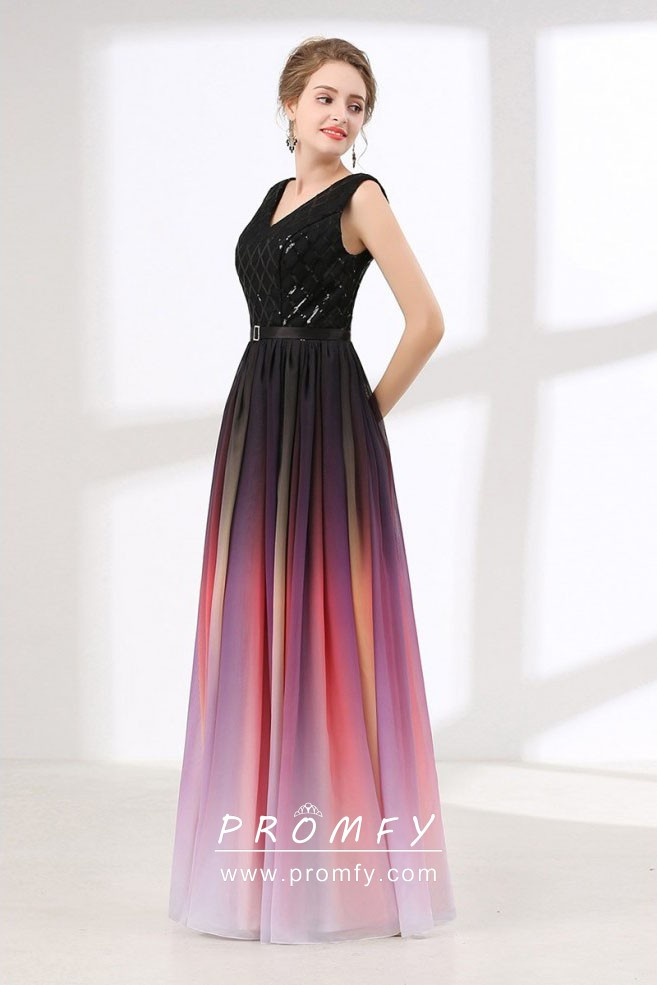 promo code promo codes first look Black Glitter Red Chiffon Ombre Wedding Guest Dress