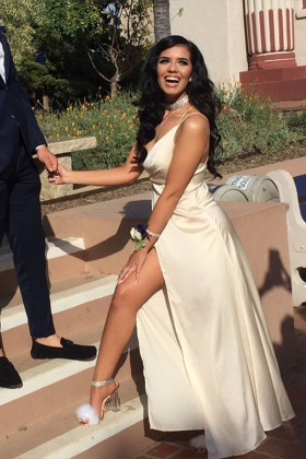 68827604512 Ivory satin simple A line long prom dress with thigh high slit