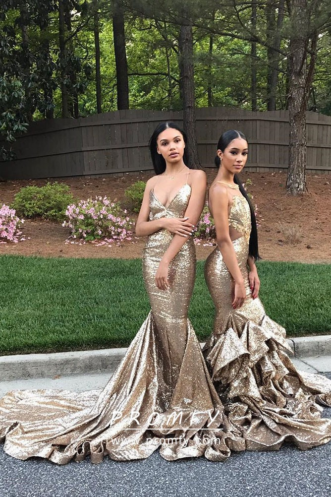 2deca0d3 Sparkly Blonde Mermaid Long Prom Gowns with Flounced Long Train ...
