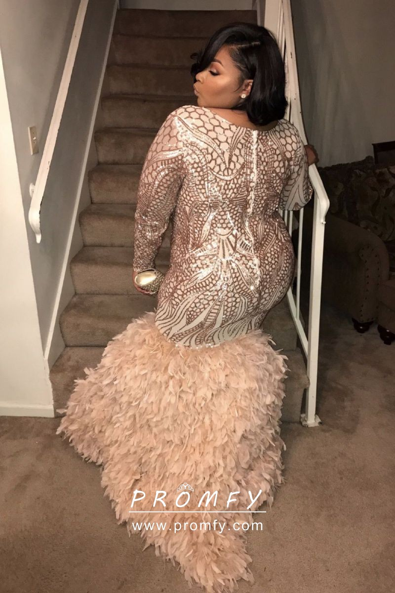 Gold Sequin Feather Long Sleeve Plus Size Prom Gown