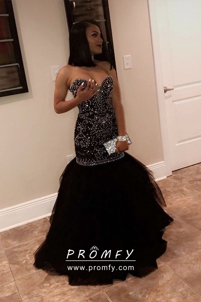 2ecd10f624c Sparkly beaded strapless sweetheart black tulle dropped waist trumpet prom  gown