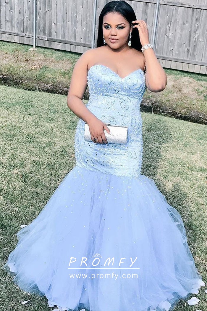 09e1b8d0658 Beaded ice blue satin and tulle classic strapless sweetheart trumpet prom  gown