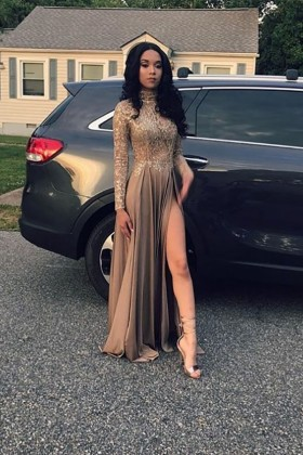 d44febf6 Vintage high neck long sleeve coffee lace and jersey A line prom dress