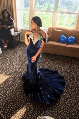 179a478dd dark navy velvet with lace appliqued off the shoulder mermaid prom gown