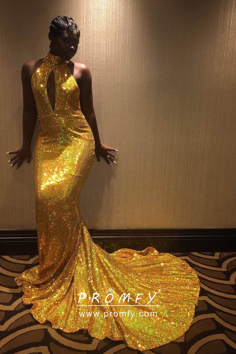 Sparkly Gold Sequin High Neckline Cutout Mermaid Long