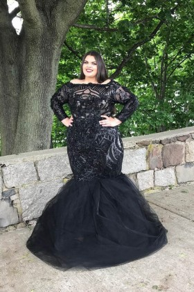 2a7b3425be8 Glistening black long sleeve trumpet floor length plus size prom dress