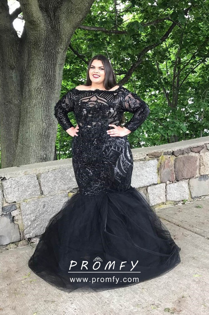 Glistening Black Long Sleeve Trumpet Floor Length Plus Size Prom ...
