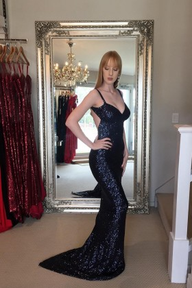 dfa3773424d Sparkly black sequin wide straps mermaid long evening prom formal dress