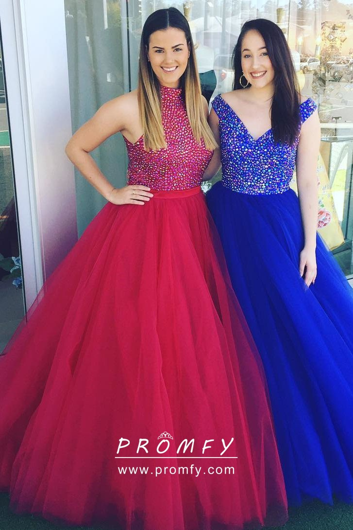 79c1cd4012 Amazing Diamond Bodice and Tulle Skirt Two-piece Designer Ball Gown ...
