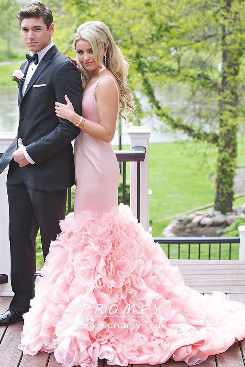 a93e00d97e cascading ruffled baby pink satin and organza mermaid designer formal dress