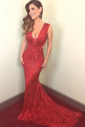 537c0565 Sparkly glitter sequin red mermaid formal prom gown with court train