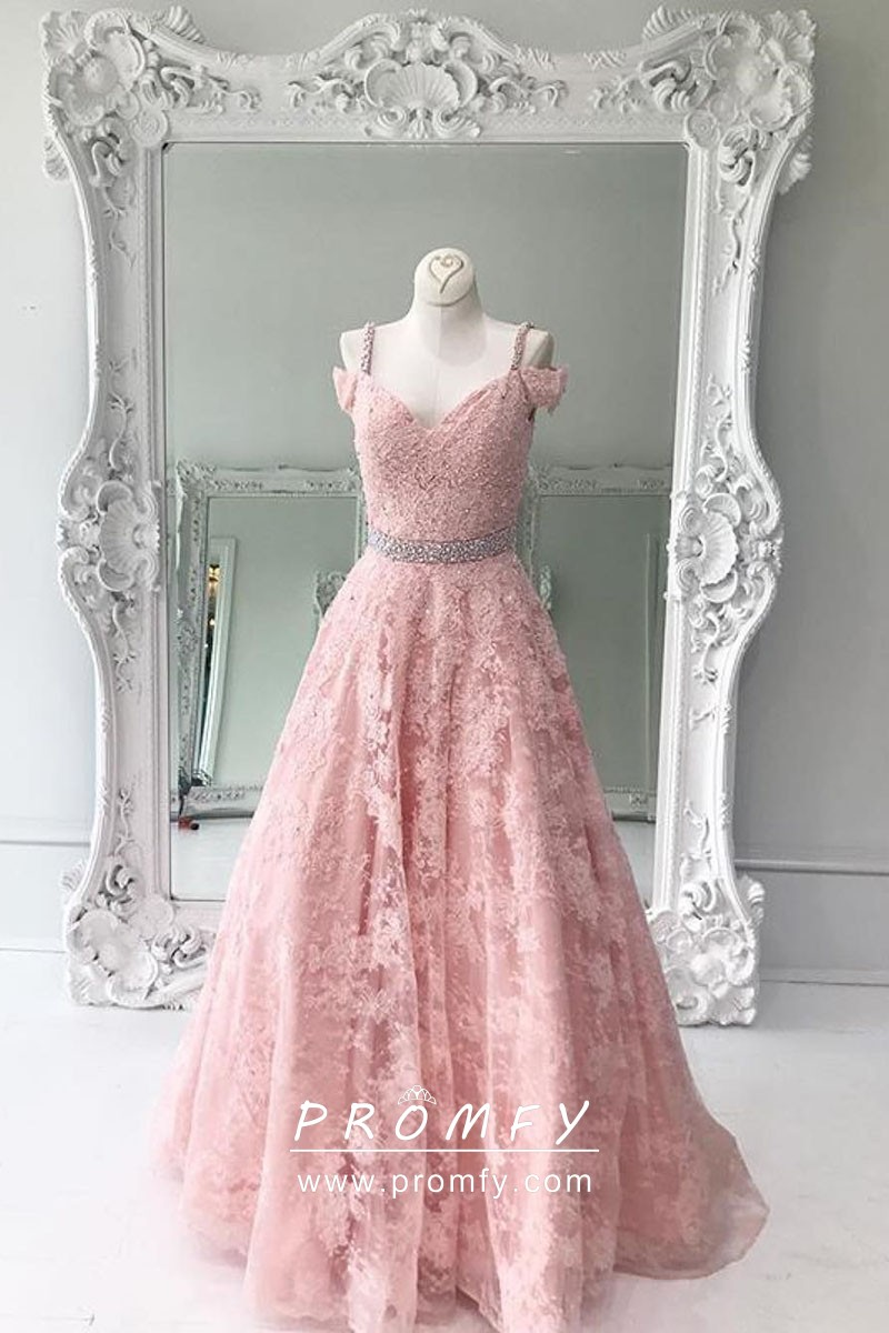 Pastel Pink Lace Designer Formal Gown With Cold Shoulder