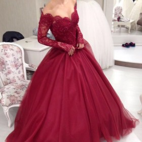 6addc1ddcac Red Scalloped Off-the-shoulder Long Sleeve Cute Fashion Prom Dress ...