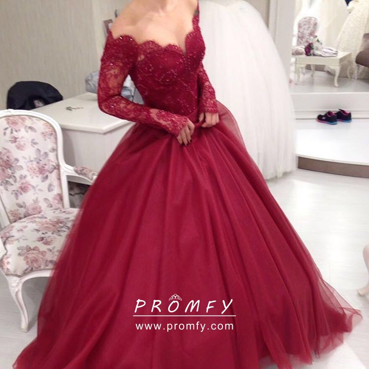 3a992f2a9ec9 Cherry lace and tulle scalloped off shoulder long sleeve vintage prom gown