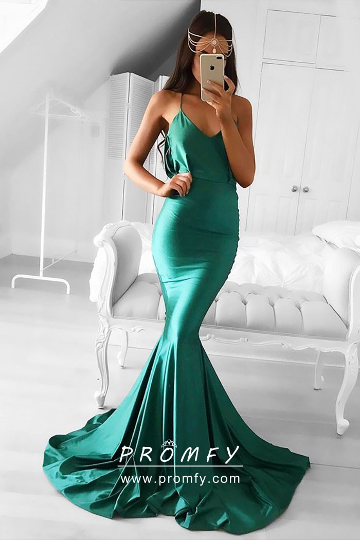 9cad1f3569c Shiny Teal Satin Mermaid Long Sweep Train Simple Prom Formal Gown ...
