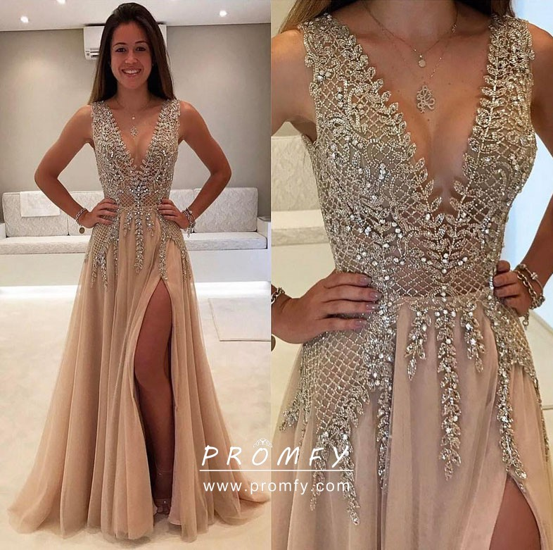 e1aaac31a Sparkly Glitter Bodice Champagne Tulle Split Unique Prom Gown ...