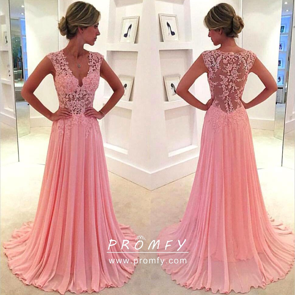 Pink Lace and Chiffon Wedding Guest Formal Dress