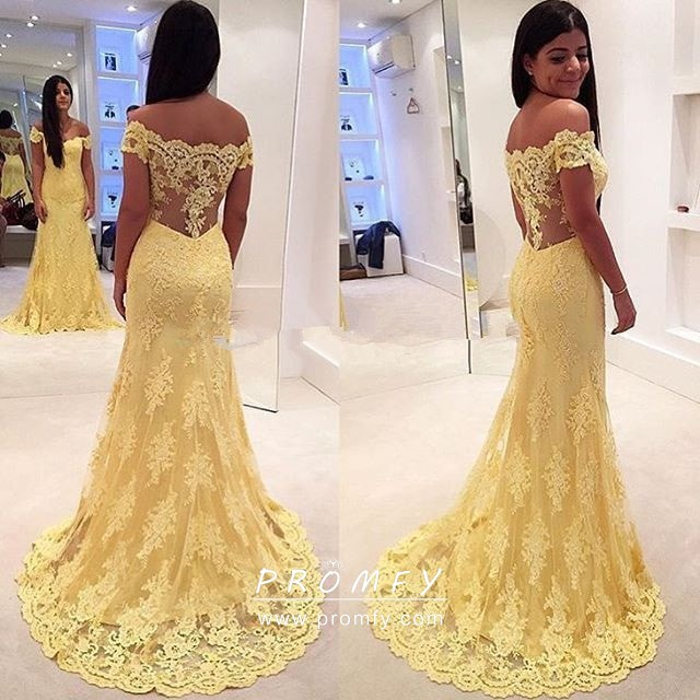 a02e8610a87a Elegant scalloped off the shoulder yellow lace wedding guest formal dress