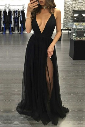 1679006f2a822 Sexy plunging neckline thigh high split black tulle prom dress