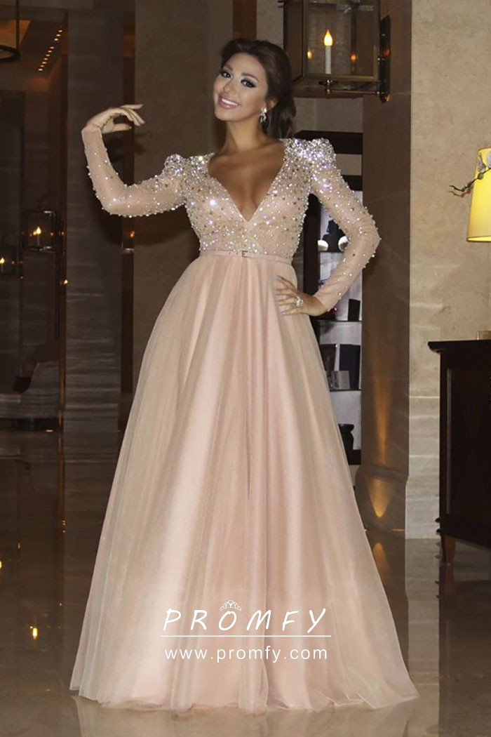 Crystals Beaded Long Sleeve Peach Tulle Princess Formal