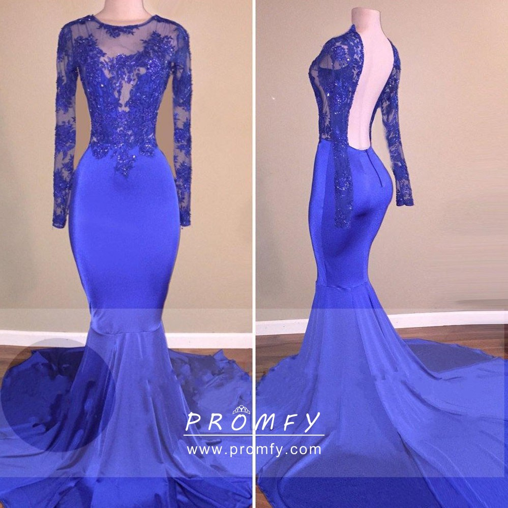 15afa0c5c27 Royal blue illusion lace open back long sleeve mermaid wedding guest dress