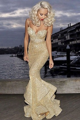 Mermaid Pageant Formal Dresses with Straps