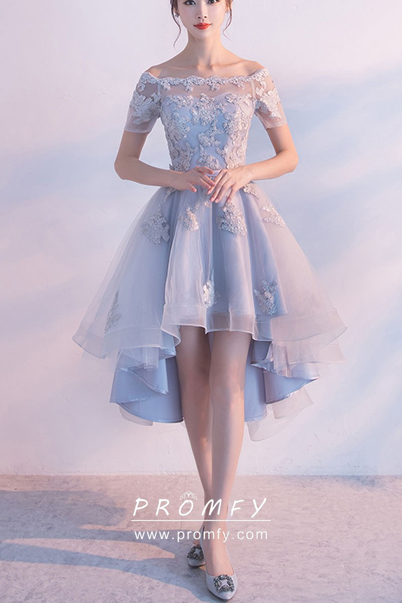 0bbeda24221 lace and tulle overlay ice blue satin short high low cute homecoming dress