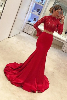 8c827769b92 Elegant red lace and satin two piece long sleeve sweep train formal dress