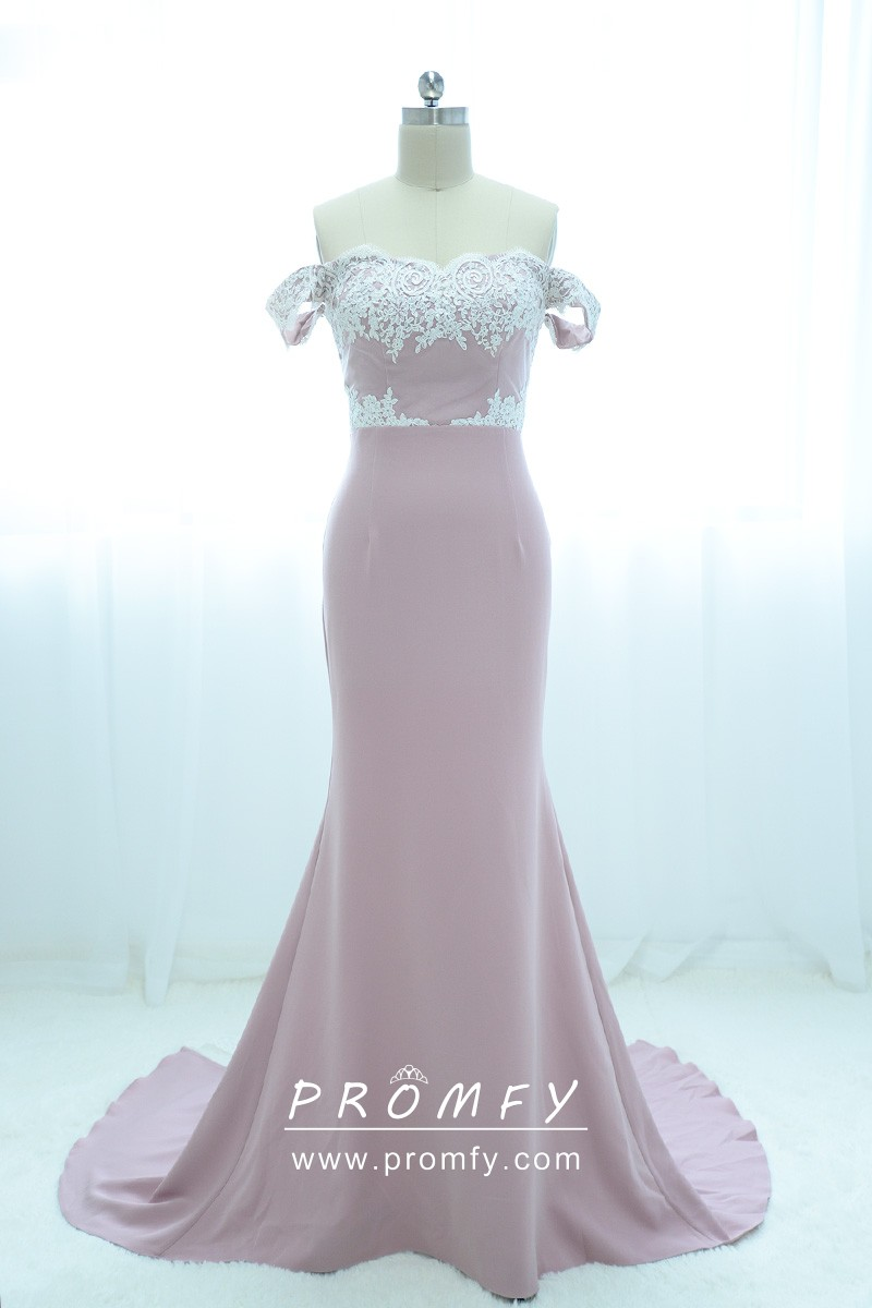 382461840fe white lace appliqued off the shoulder dusty pink jersey bridesmaid dress