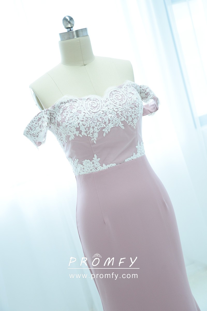 3f73763e0af White Lace Appliqued Off-the-shoulder Dusty Pink Jersey Bridesmaid ...