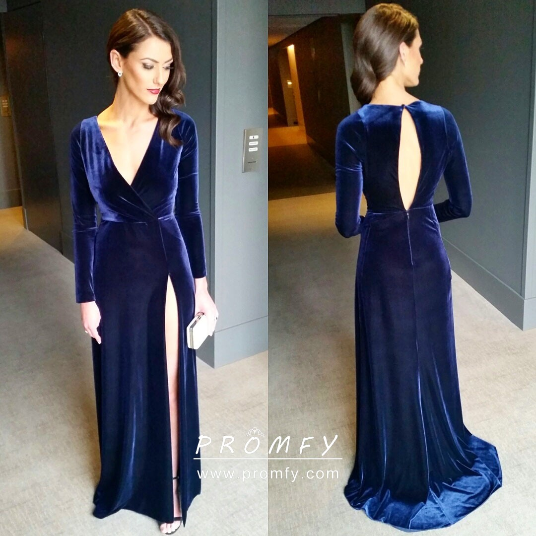 Simple Navy Blue Velvet Slim A Line Long Sleeve Split Long Evening Gown