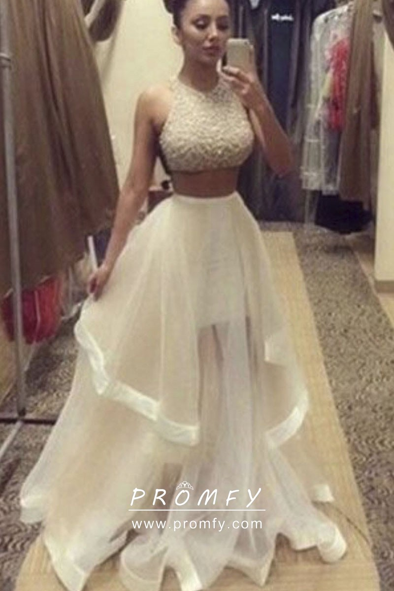 Sheer Tulle Two Piece Prom Gown