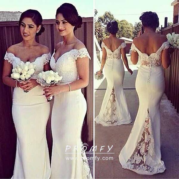 3dc77fbc9c0 Off white lace and spandex elegant off shoulder mermaid bridesmaid dresses