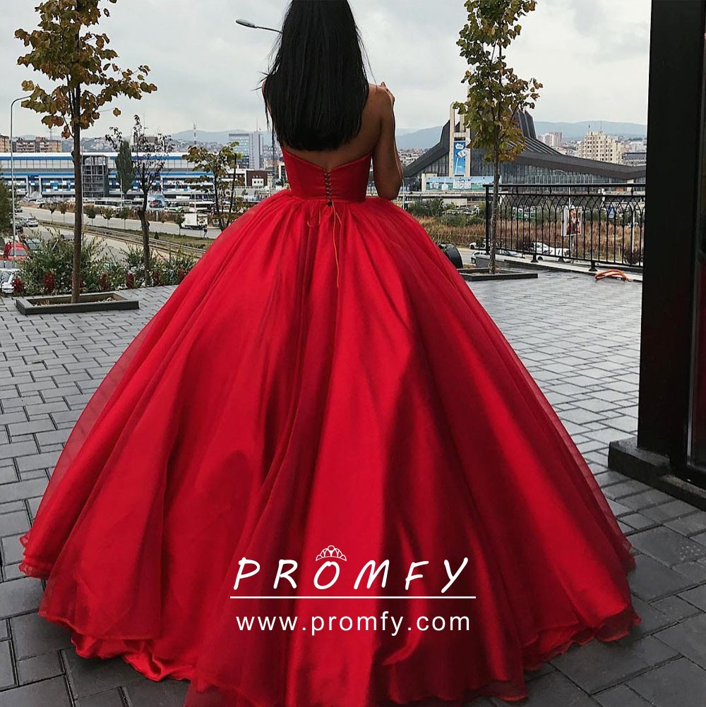 353ea3fbec3 Gorgeous Red Strapless Sweetheart Designer Quinceañera Prom Ball ...