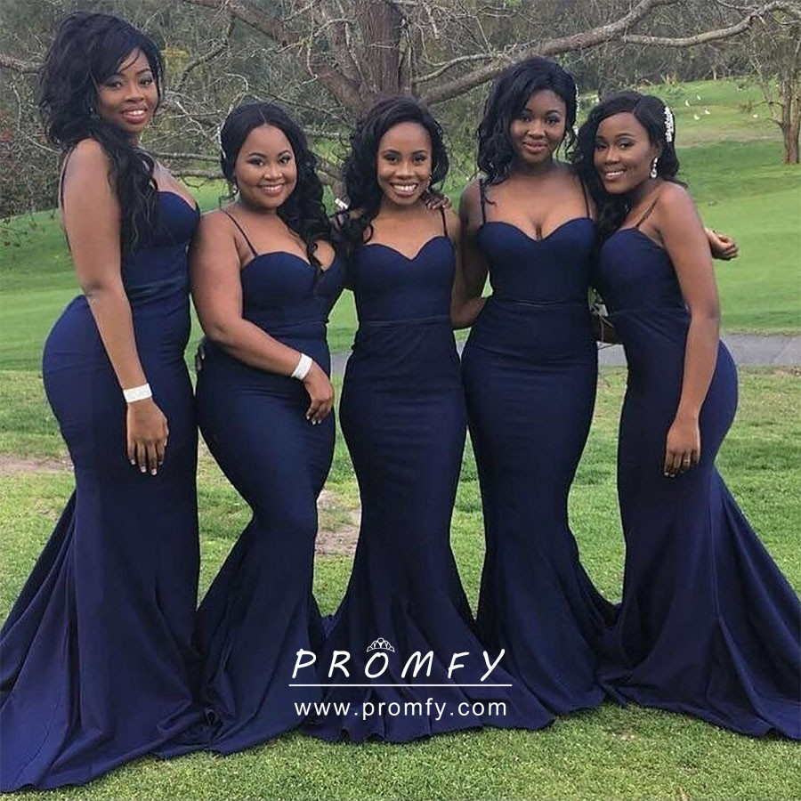 Navy Blue Sweetheart Mermaid Long Bridesmaid Dress
