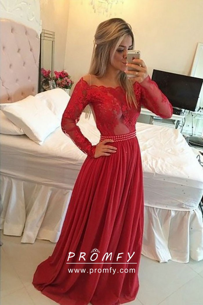fa2dae1034b4 Red Scalloped Off-the-shoulder Long Sleeve Cute Fashion Prom Dress ...