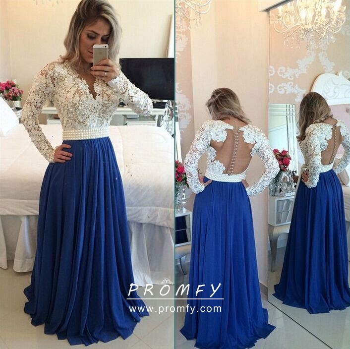 a69858a155 Vintage inspired white lace and royal blue jersey long sleeve two tone prom  gown
