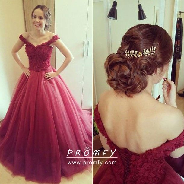 Burgundy Lace Gown