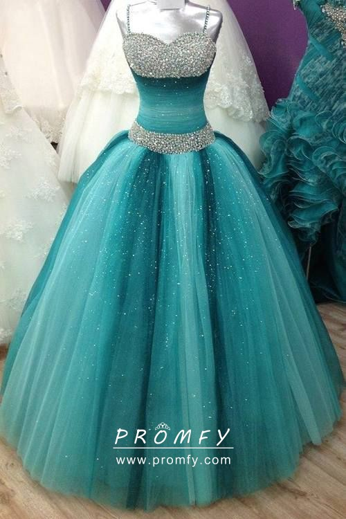 Sparkly Beaded Ombre Teal And Turquoise Tulle Ball Gown Prom Dress