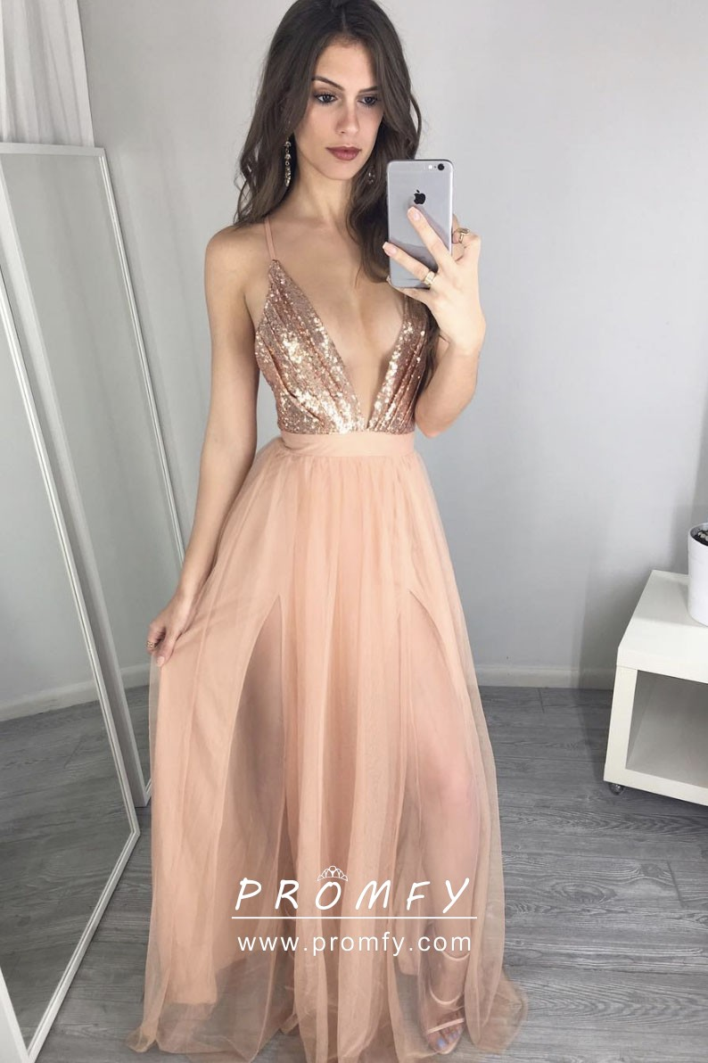 159822ecf5 Sexy gold sequin and nude tulle plunging V neckline double slit prom dress